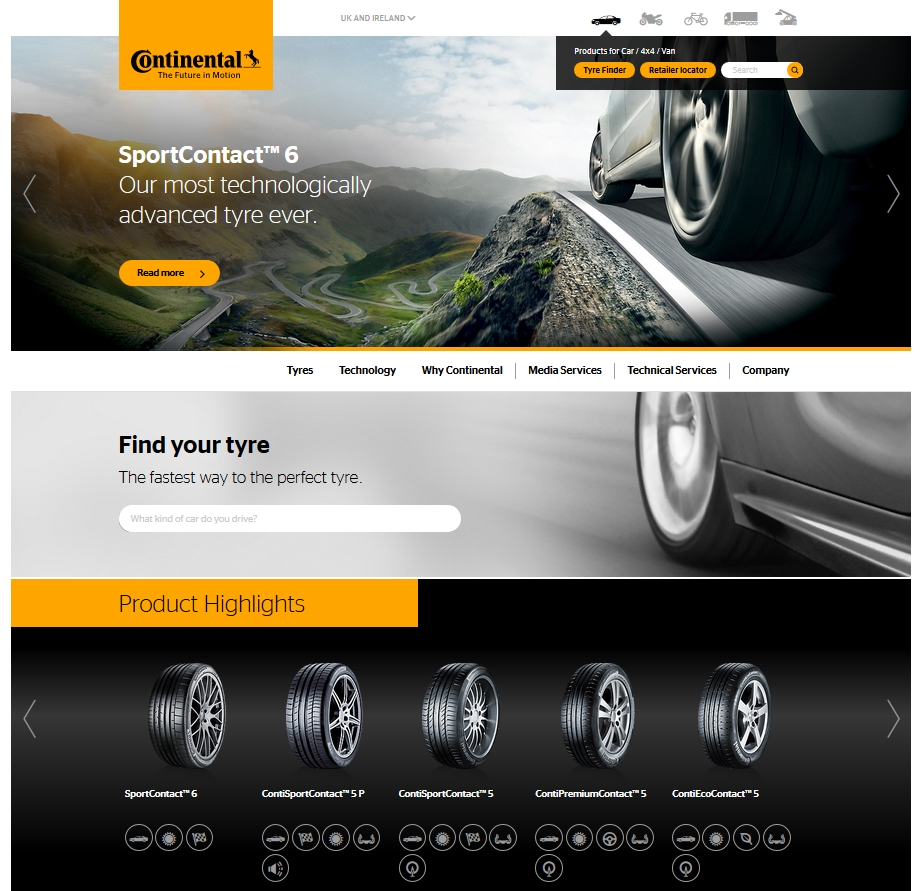 Continental Tyres new look website