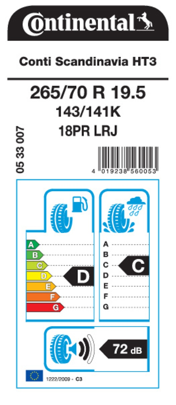 EU Tire Label Conti Scandinavia HT3 19.5