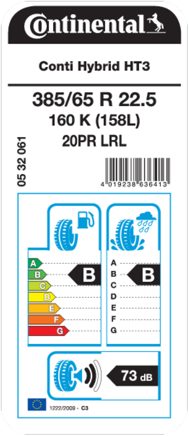 Conti Hybrid HT 3 22.5 - EU Tire Label