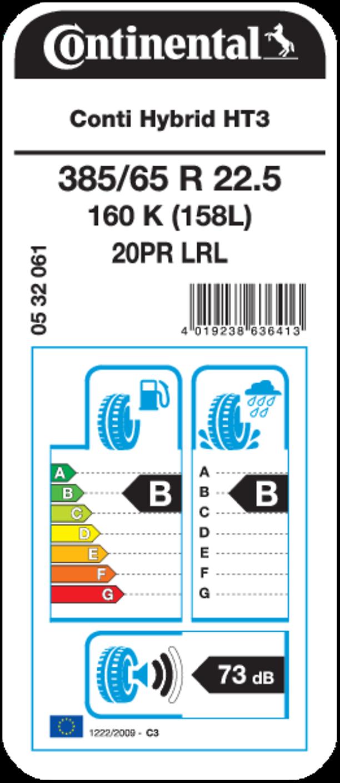 Conti Hybrid HT 3 22.5 - EU Tire Label