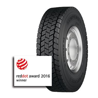 """Le pneu Semperit Runner D2 pour essieu moteur a reçu le prix """"Red Dot Design"""""""