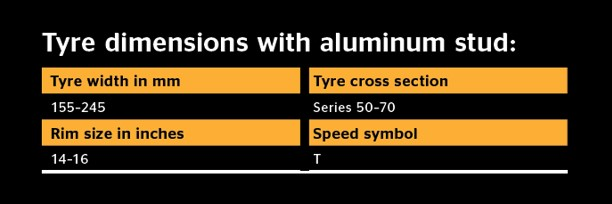 Tyre dimensions with aluminium stud