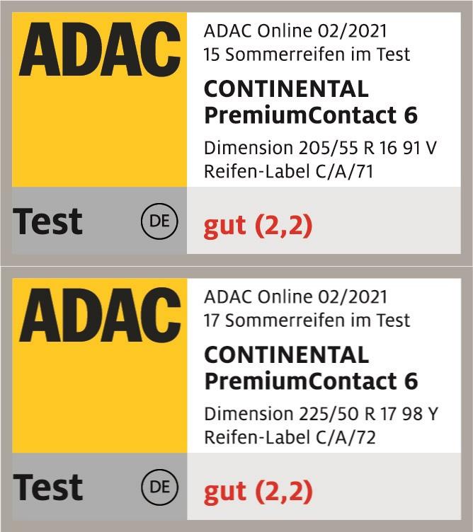 ADAC Sommerreifentest 2021 Testsiegel PremiumContact 6