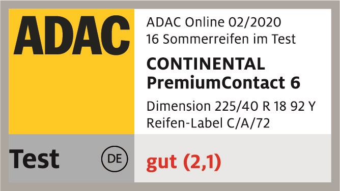 ADAC Sommerreifentest 2020 Testsiegel PremiumContact 6