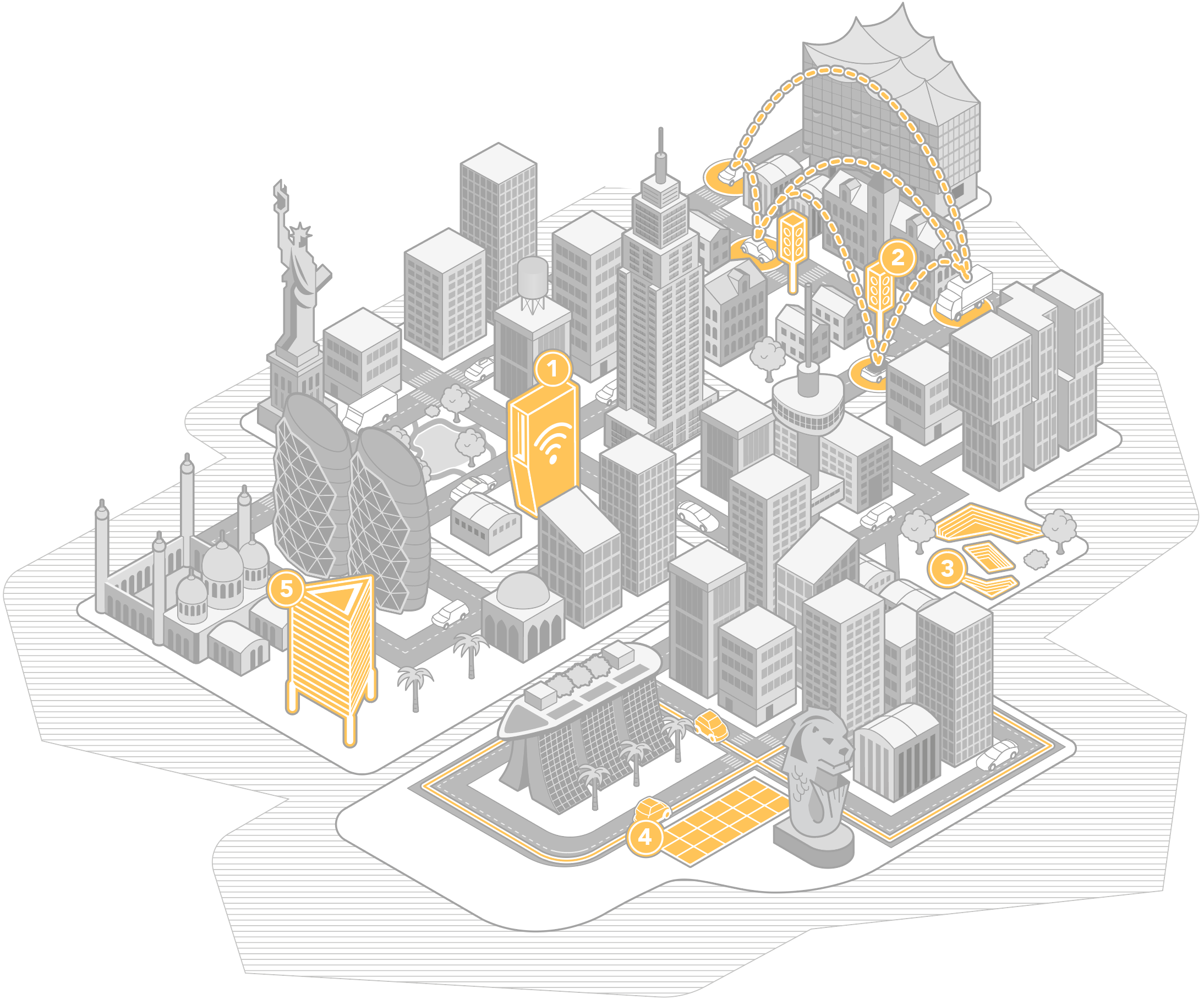 Future city, made up of modern cities from all over the world