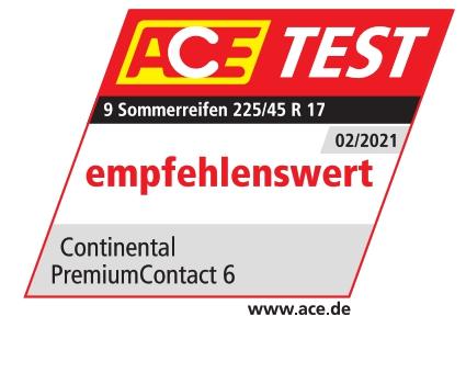 ACE Sommerreifentest  2021 Testsiegel  PremiumContact 6
